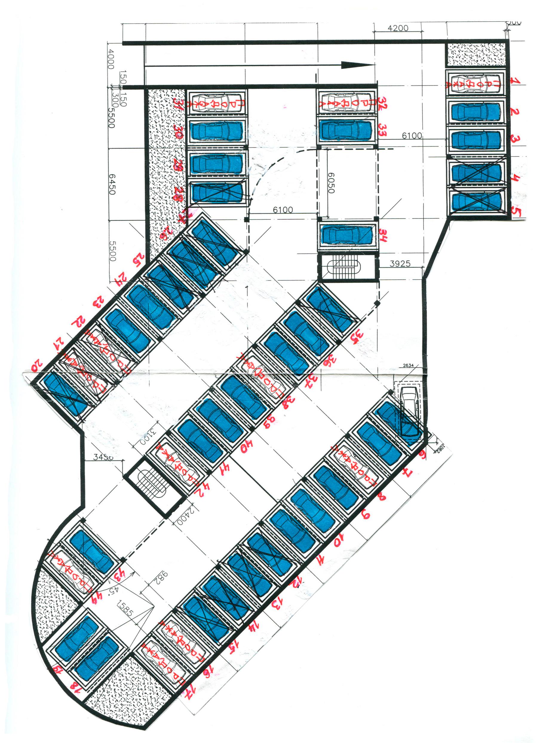 план разбивки мест машин парковки наверх